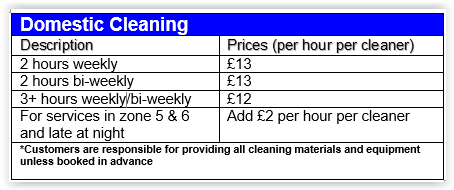 domestic cleaning chelsea prices
