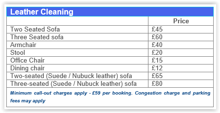 Leather cleaning prices Chelsea