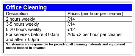 office cleaning chelsea prices